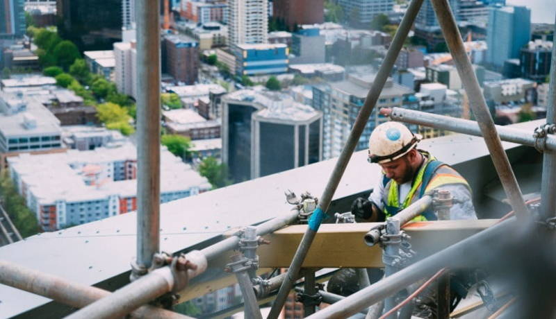 A construction worker working on the site.